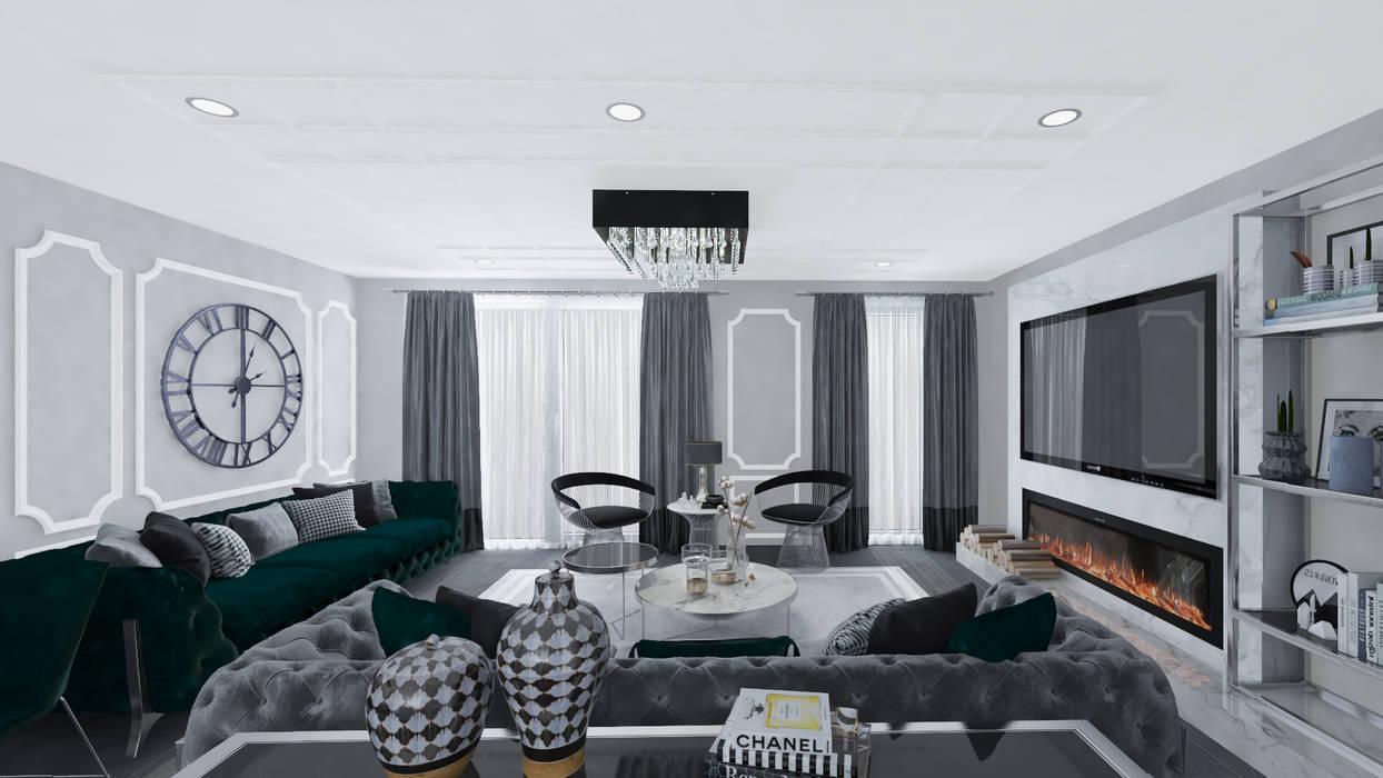 Altuncu İç Mimari Dekorasyon – Hollanda Eindhoven Villa projesi Salon Tasarımı:  tarz Oturma Odası, Modern