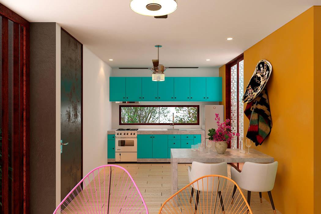 Cocina Laboratorio Mexicano de Arquitectura Cocinas pequeñas Concreto Azul
