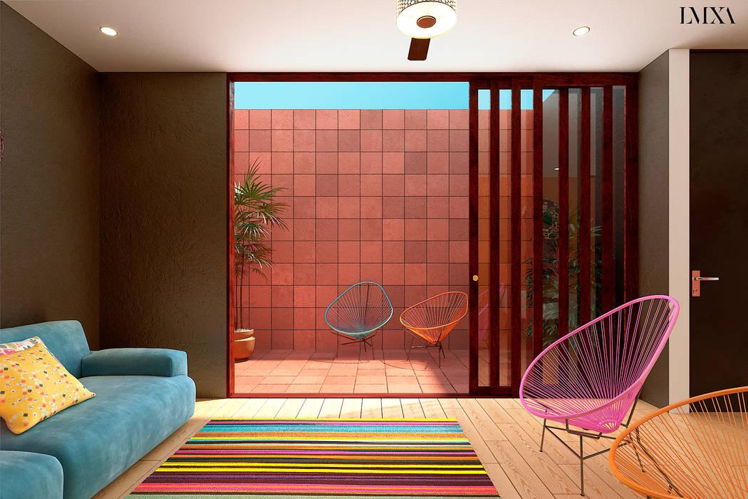 Patio interior: Terrazas de estilo  por Laboratorio Mexicano de Arquitectura,