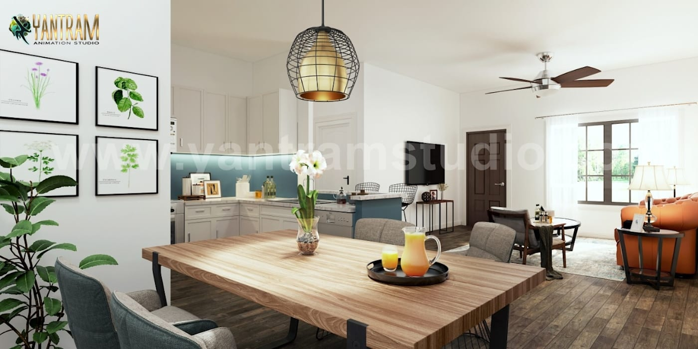 Contemporary Open Style kitchen 3D Interior Trends by Architectural Rendering Company, London – UK:  Kitchen units by Yantram Architectural Design Studio Corporation, Classic