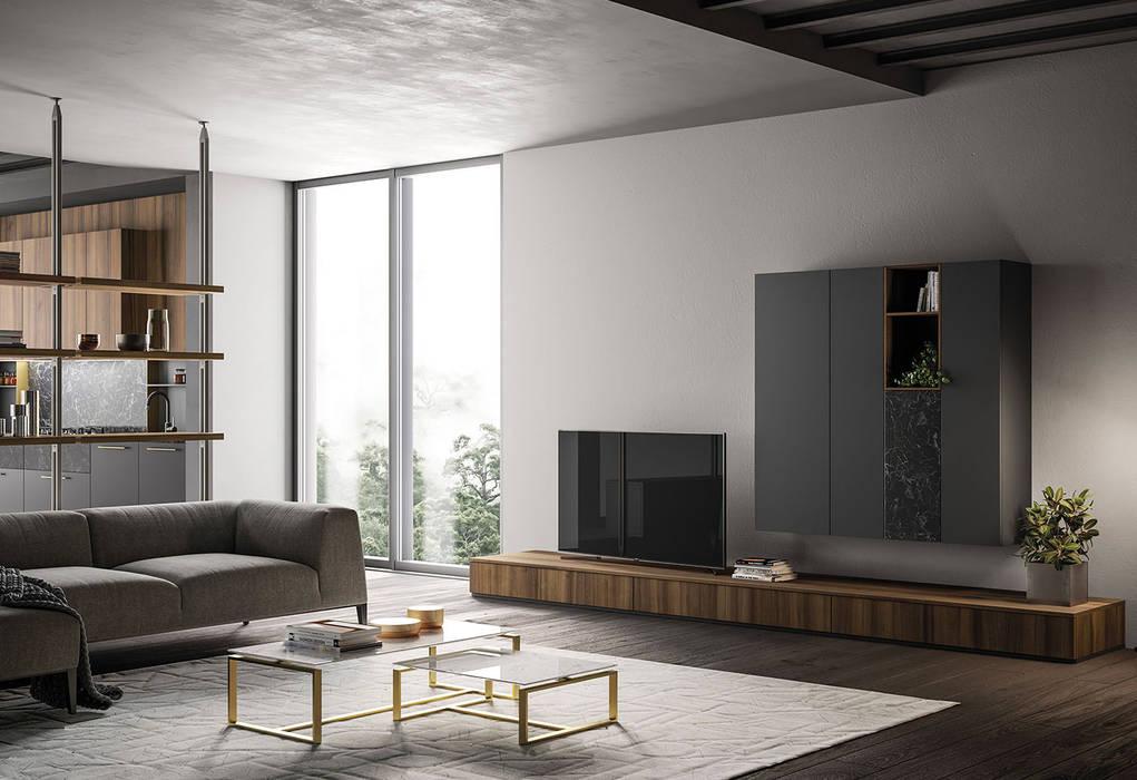 Soggiorno moderno .: Sala da pranzo in stile  di L&M design di Marelli Cinzia, Moderno Legno composito Trasparente