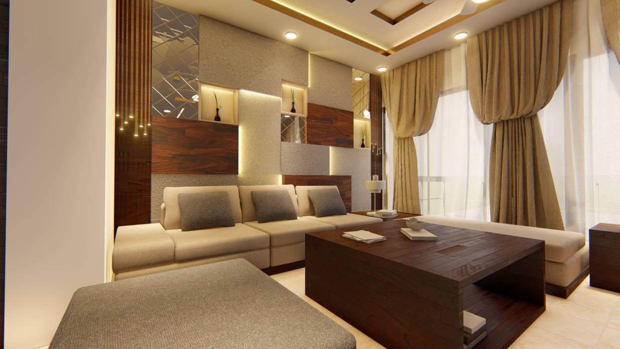 living room: modern  by Manglam Decor,Modern Leather Grey