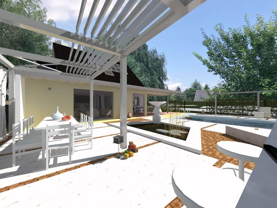 extension d'une maison par une nouvelle salle de séjour: Terrasse de style  par A.FUKE-PRIGENT ARCHITECTE, Moderne
