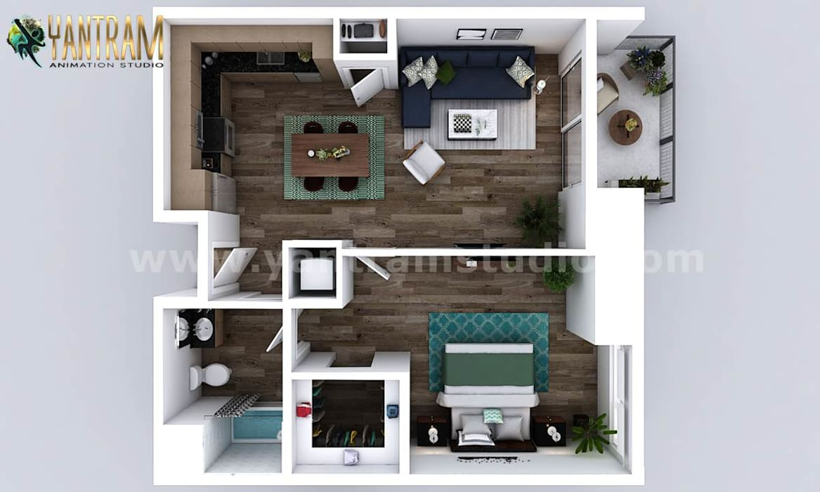Residential Unique style One Bedroom Apartment floor plan design company by Architectural Studio, Dallas – USA by Yantram Architectural Design Studio Classic