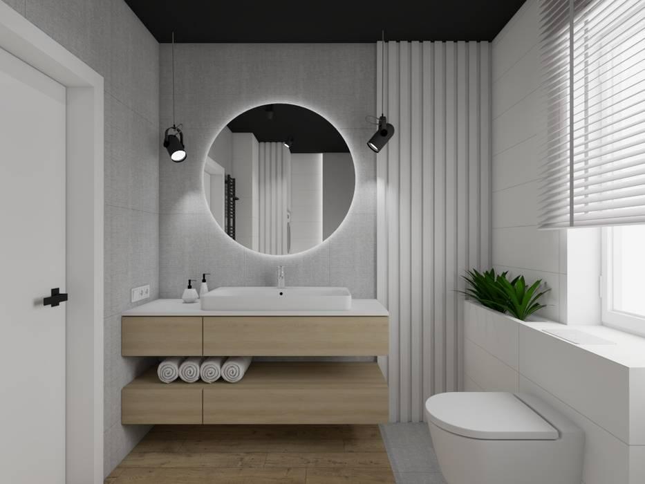 Łazienka z czarnym sufitem Nowoczesna łazienka od SPATIO PROJEKTOWANIE WNĘTRZ Nowoczesny Drewno O efekcie drewna