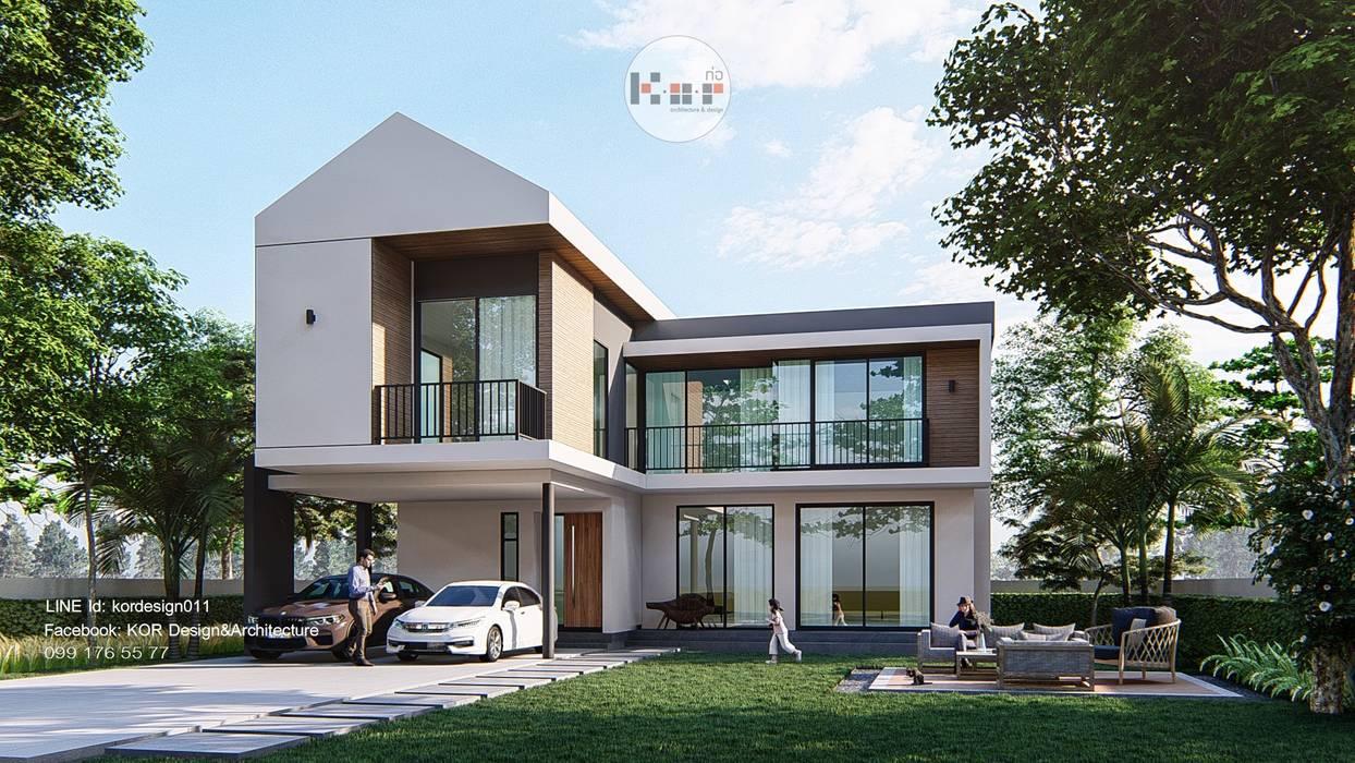 Project : modern minimalist  house:  บ้านเดี่ยว โดย Kor Design&Architecture, ผสมผสาน คอนกรีต