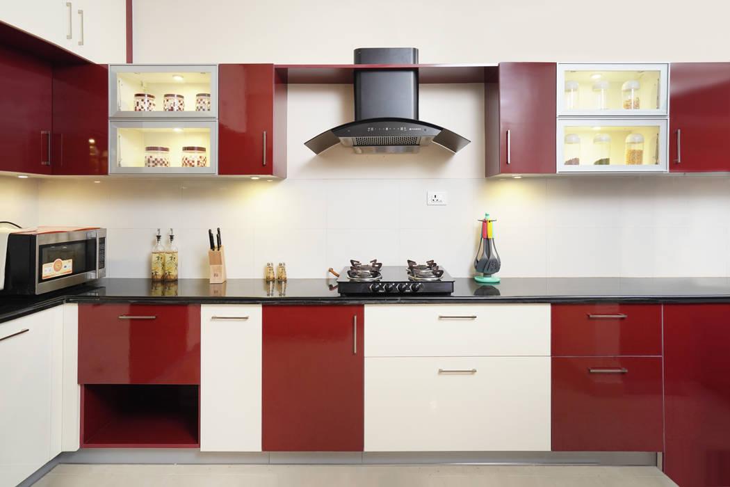Red White Modern Kitchen Homelane Com Homify