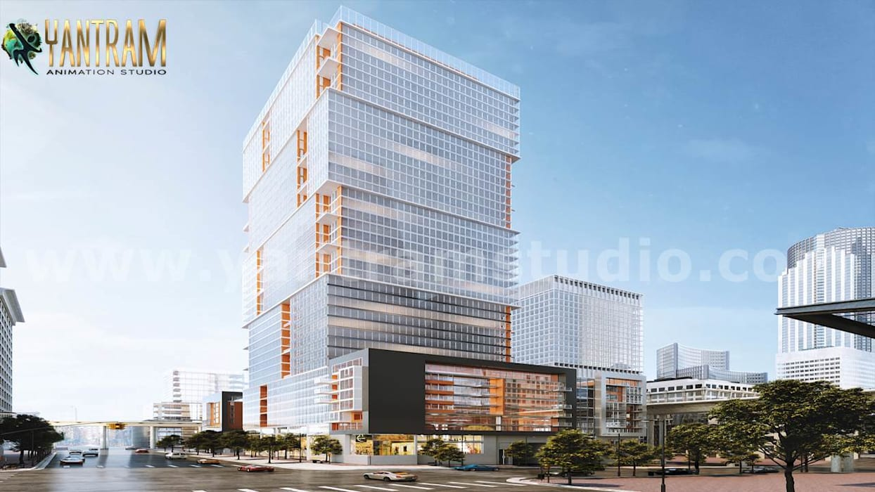 High-rise latest 3d exterior house building designs by 3d animation studio:  Terrace house by Yantram Architectural Animation Design Studio Corporation, Classic