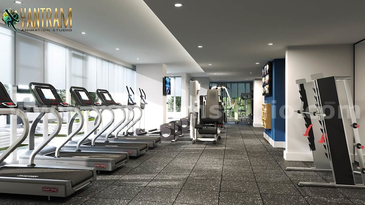 Newest Fitness Health GYM interior design by Architectural Visualisation Studio Classic style gym by Yantram Architectural Animation Design Studio Corporation Classic