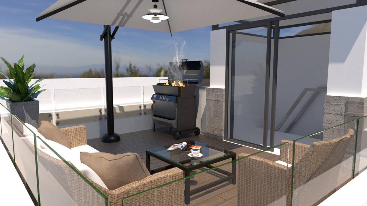 Casa Roncato 12146, San Marino, Tijuana B.C. Mexico Balcones y terrazas modernos de URBAO Arquitectos Moderno Concreto