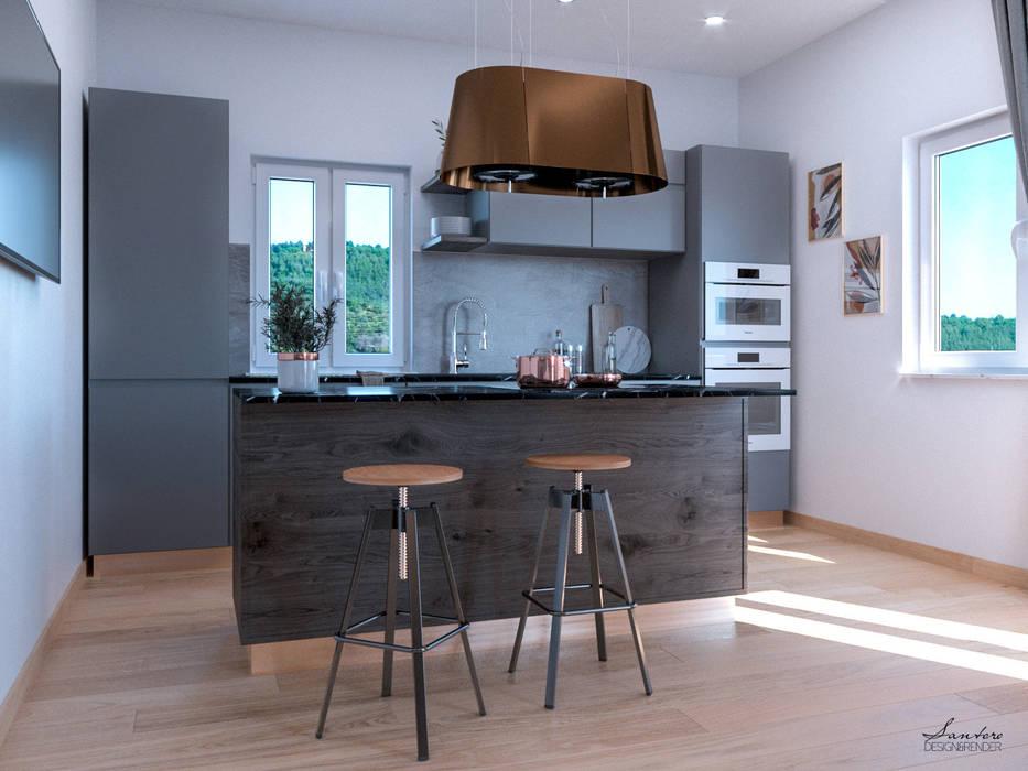 Cucina con isola: Cucina in stile  di Santoro Design Render, Moderno