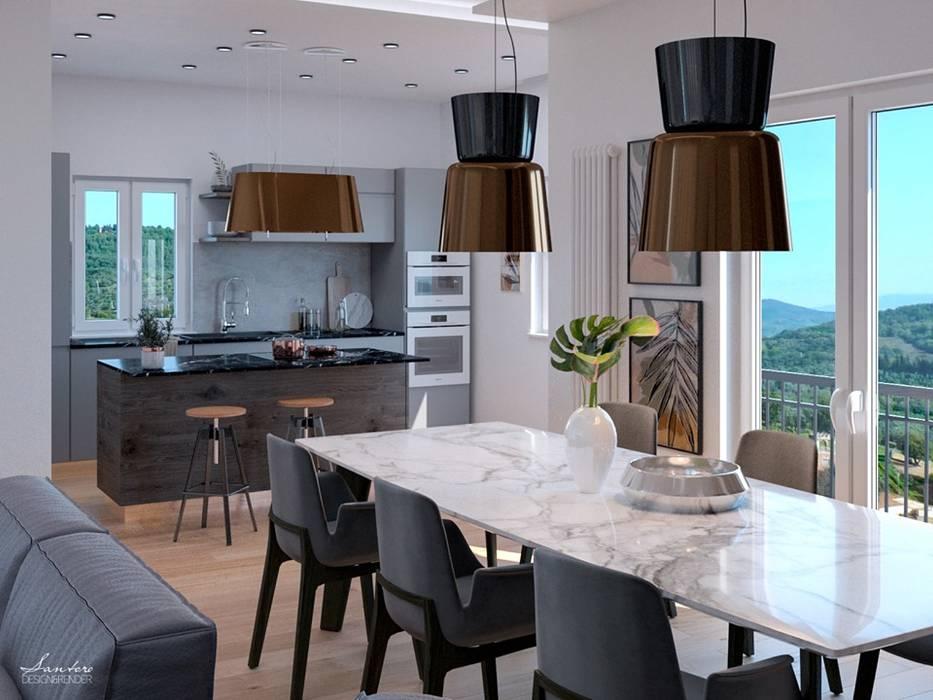 Cucina e zona living a Sant'Agata di Militello: Cucina in stile  di Santoro Design Render, Moderno