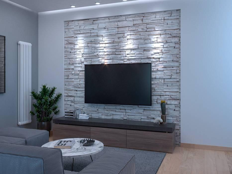 Soggiorno con parete attrezzata Soggiorno moderno di Santoro Design Render Moderno