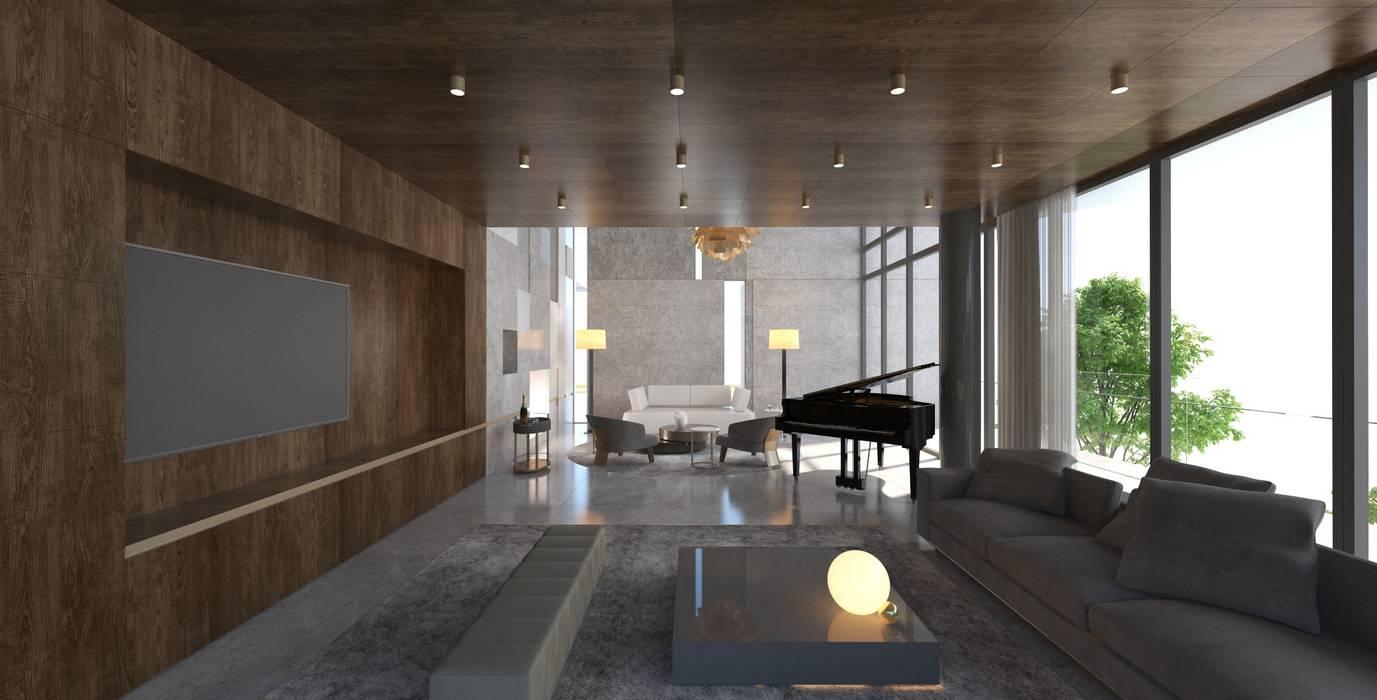 Yıldırım Villa Robus Mimarlık Mühendislik Modern Oturma Odası Ahşap Ahşap rengi