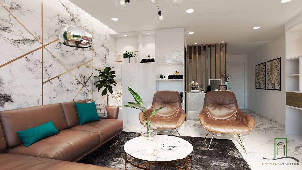 Thiết kế và thi công xây dựng nhà phố liền kề dự án Uni-Town Phòng khách phong cách châu Á bởi Công ty TNHH sửa chữa nhà phố trọn gói An Phú 0911.120.739 Châu Á