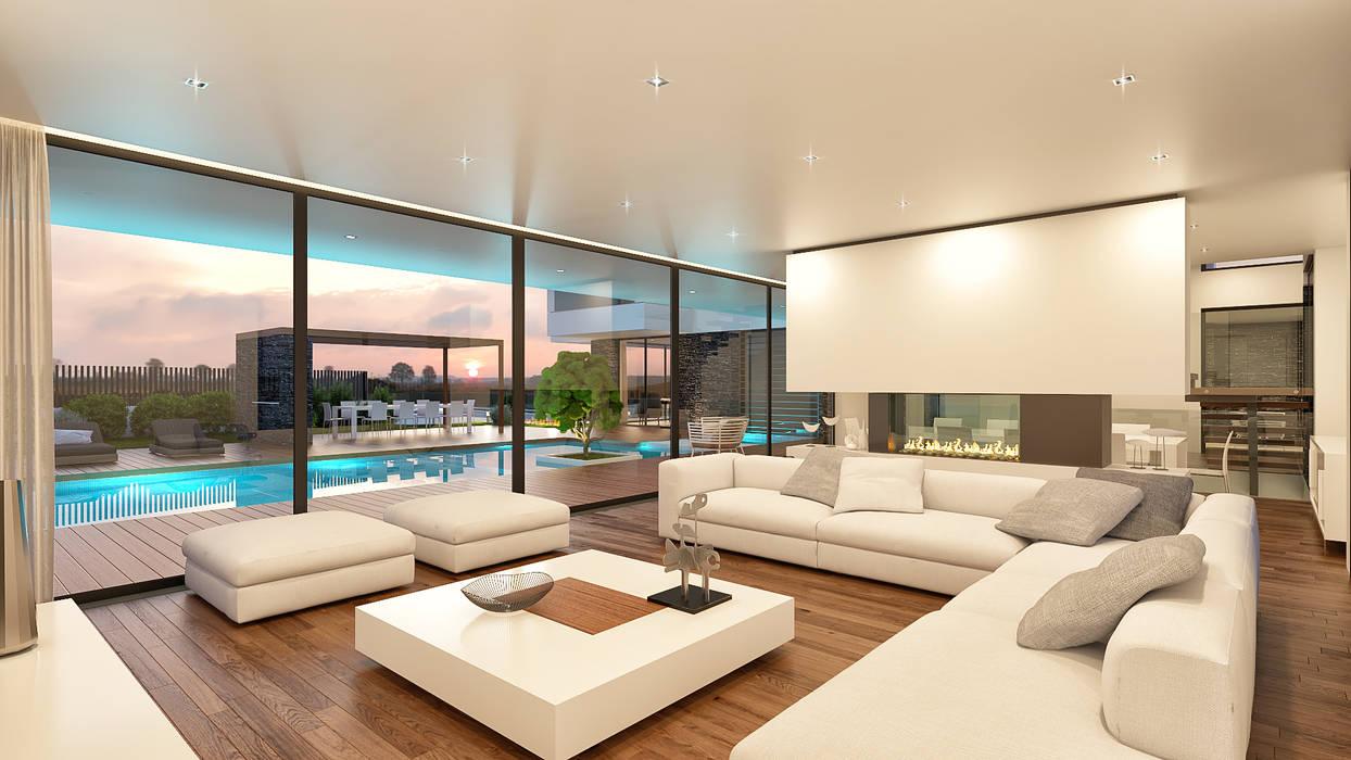 CASA GC1- Moradia em Oeiras - Projeto de Arquitetura - sala: Salas de estar  por Traçado Regulador. Lda,