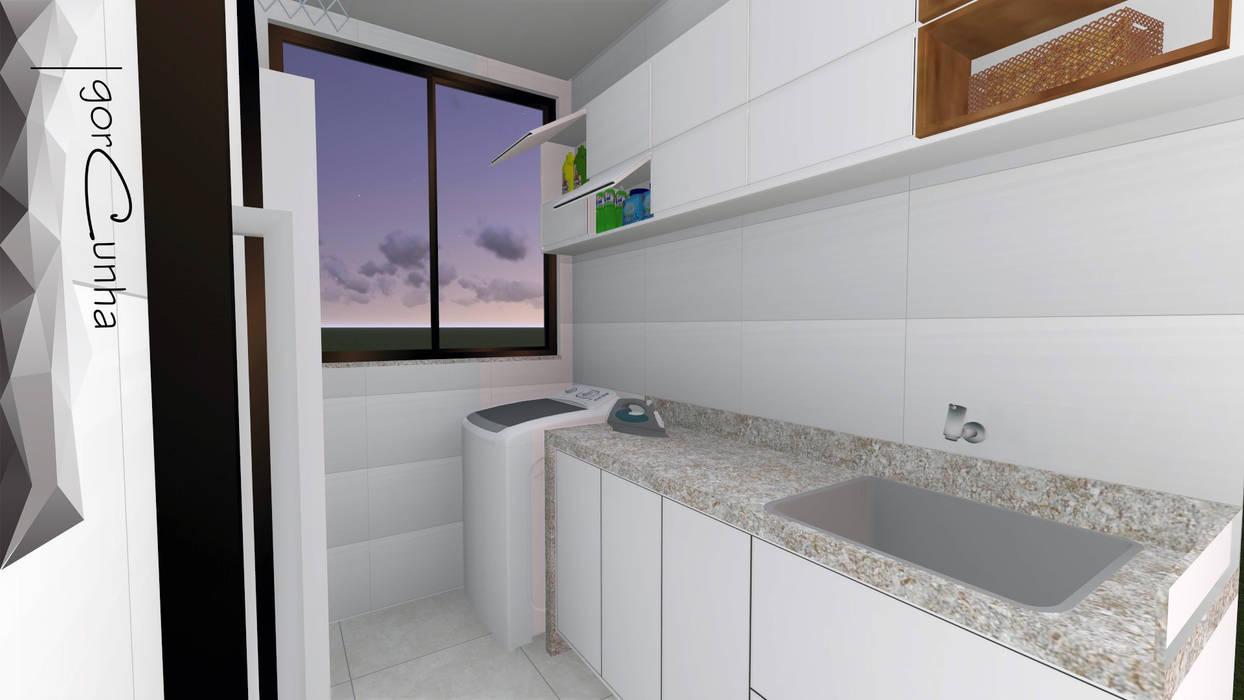 Projeto para área de serviços de um apartamento : Paredes  por Igor Cunha Arquitetura ,