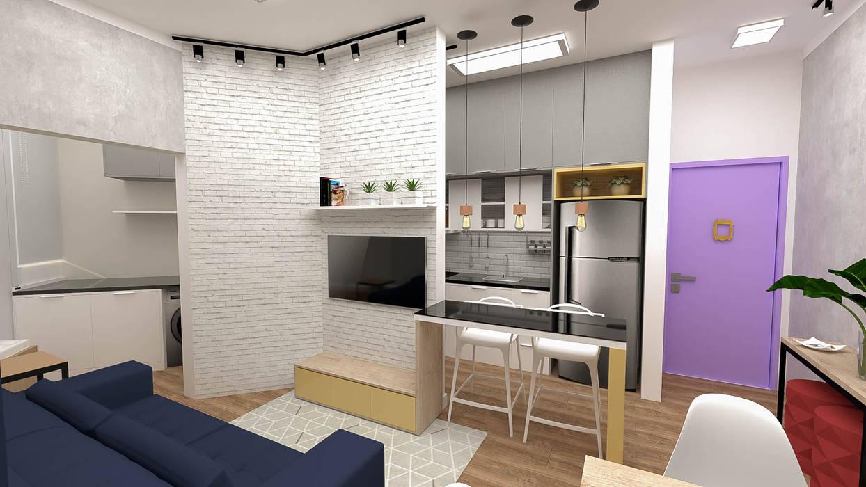 Implantação de Apartamento Residencial 55m2 -1 Cozinhas ecléticas por Fareed Arquitetos Associados Eclético