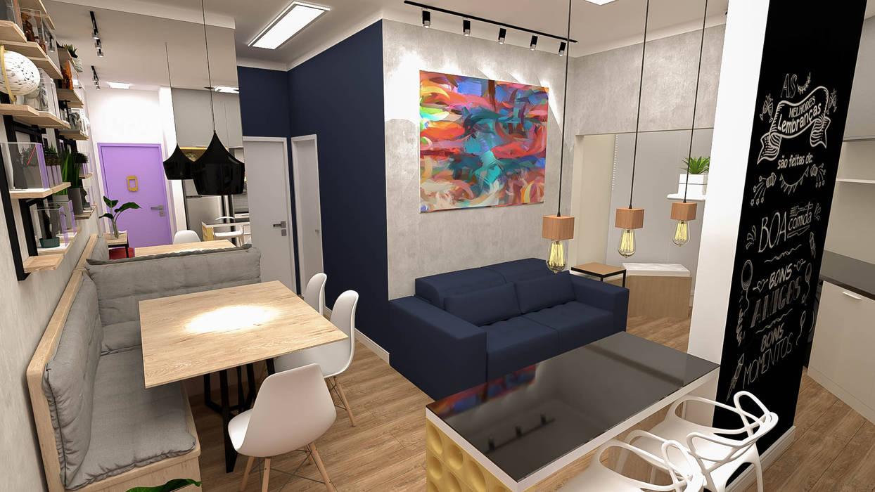 Implantação de Apartamento Residencial 55m2 -2: Salas de jantar  por Fareed Arquitetos Associados,Eclético