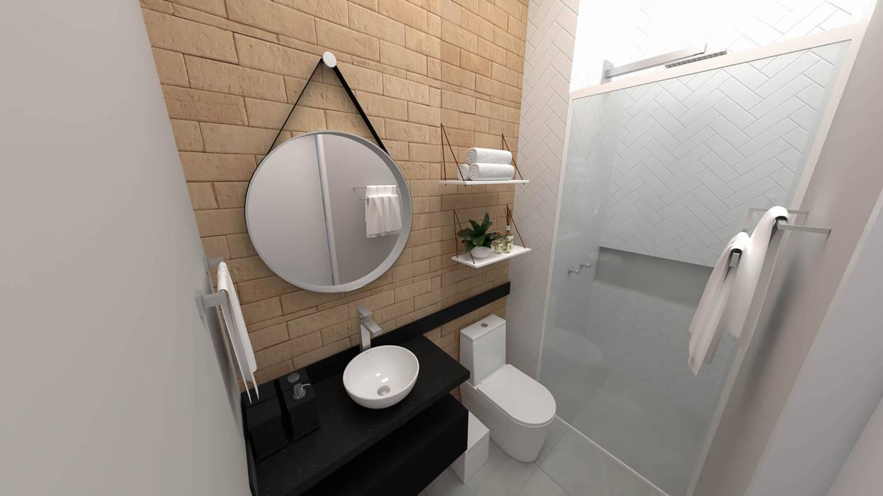 Implantação de Apartamento Residencial 55m2 -5: Banheiros  por Fareed Arquitetos Associados,Eclético