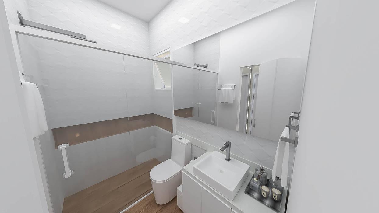 Implantação de Apartamento Residencial 55m2 -8: Banheiros  por Fareed Arquitetos Associados,Eclético