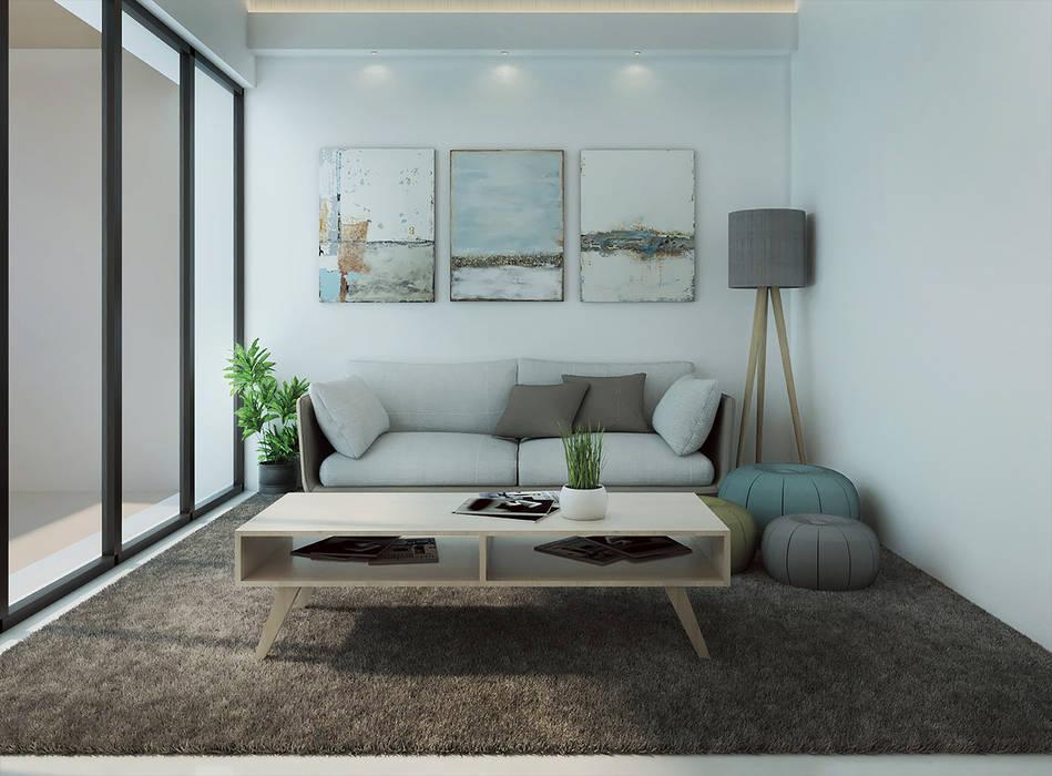 : Ruang Keluarga oleh Kolletra Visual Studio, Minimalis Granit