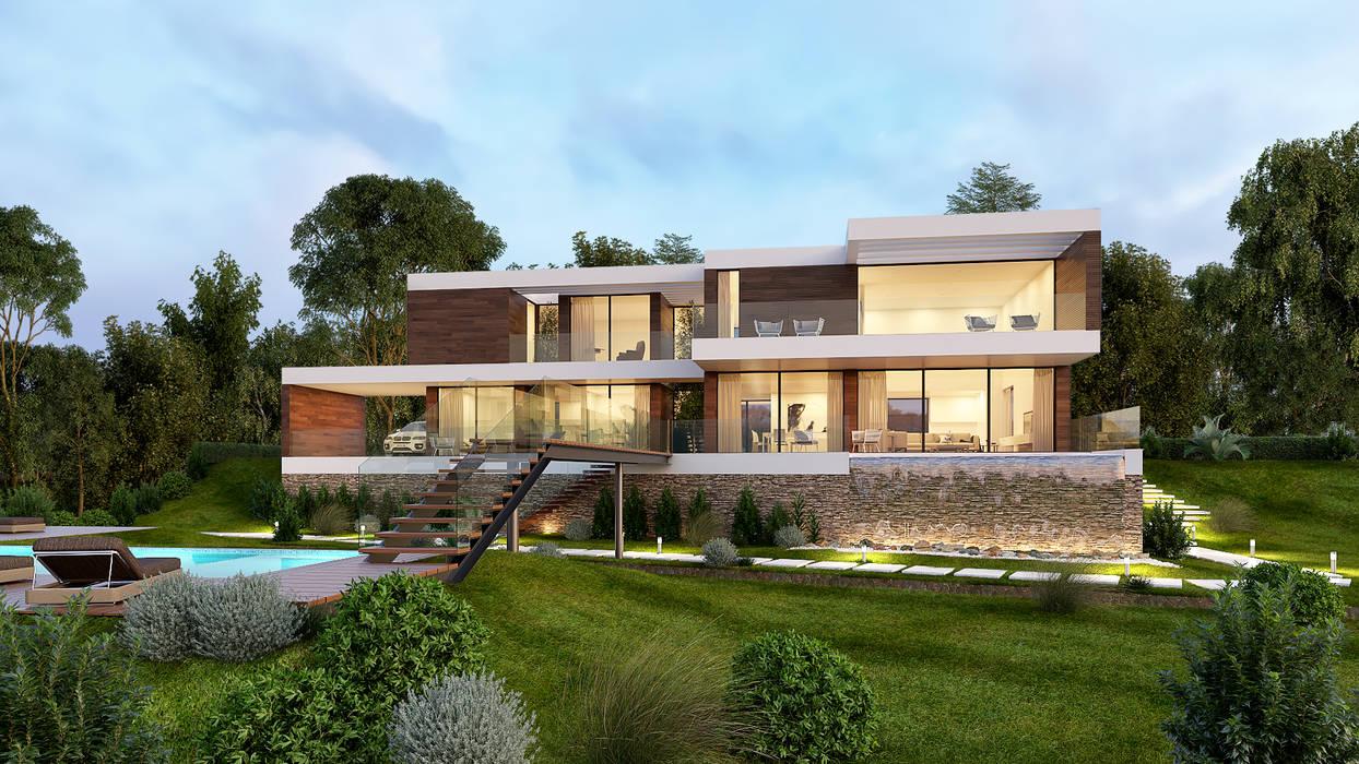 CASA LS1 - Moradia em Cascais - Projeto de Arquitetura - exterior: Moradias  por Traçado Regulador. Lda,
