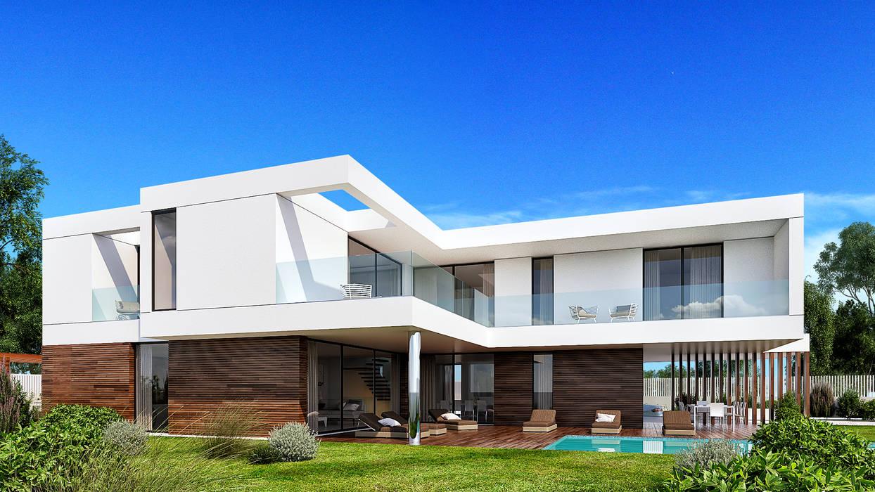 CASA GB1 - Moradia em Cascais - Projeto de Arquitetura - exterior piscina: Moradias  por Traçado Regulador. Lda,