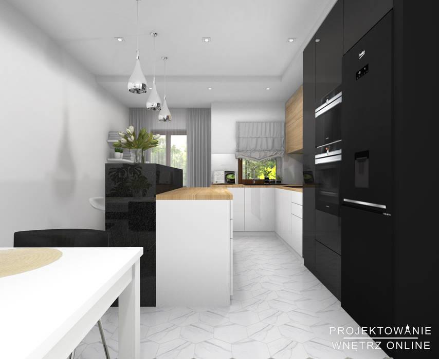 Projekt Kuchni Z Jadalnią Biel Czerń Drewno I Hexagony