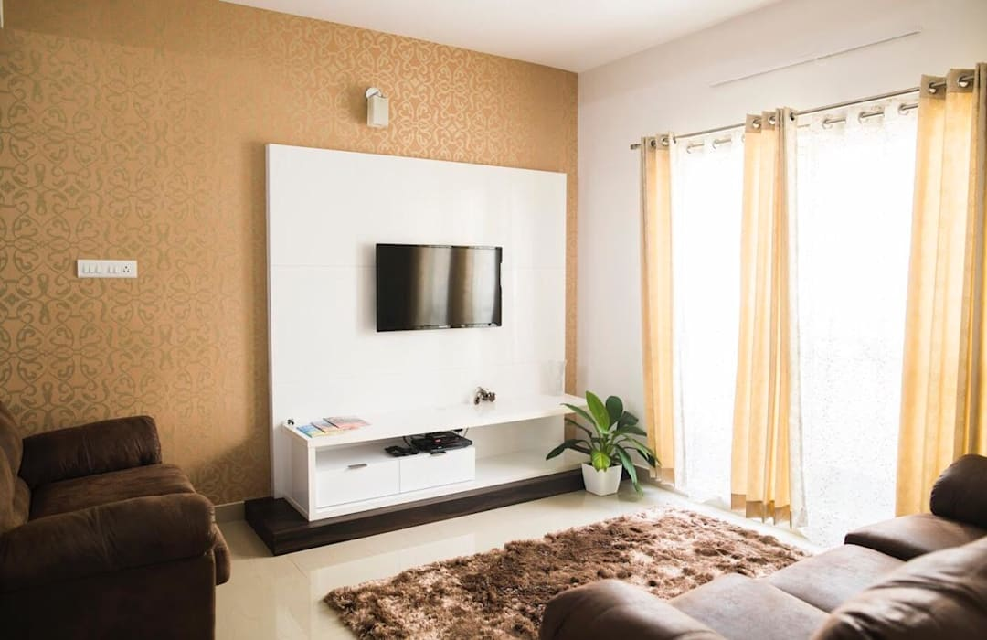 TV unit and Living room furniture setup:  Living room by Dream Touch ,