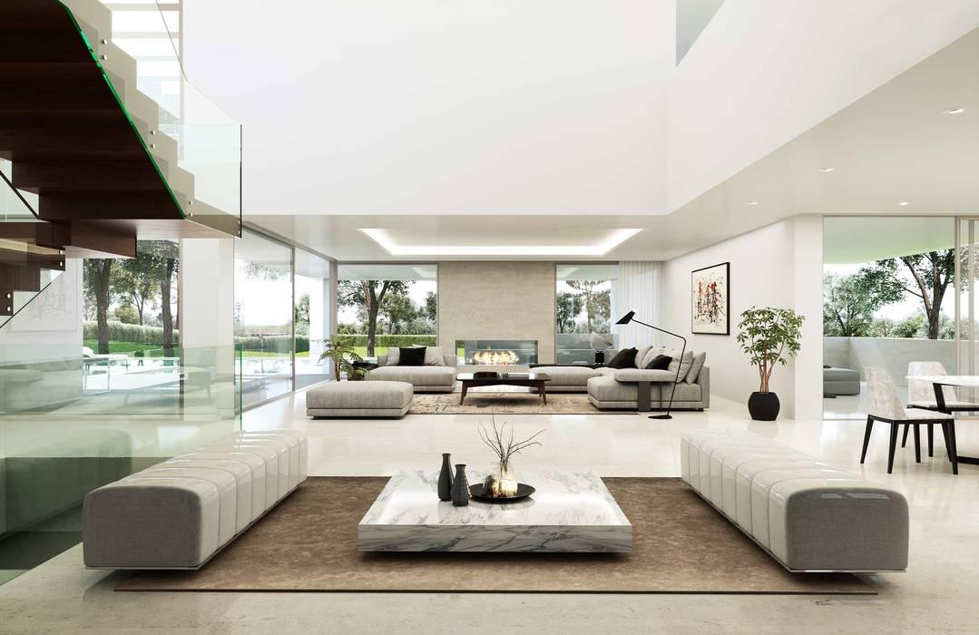 Salón espectacular: Salones de estilo  de Otto Medem Arquitecto vanguardista en Madrid, Moderno