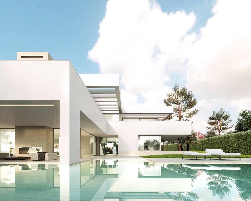 Piscina: Piscinas de jardín de estilo  de Otto Medem Arquitecto vanguardista en Madrid, Moderno