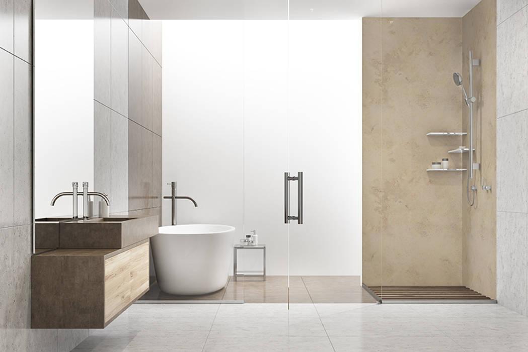 Wand badezimmer dusche limestone moderne badezimmer von kwg ...