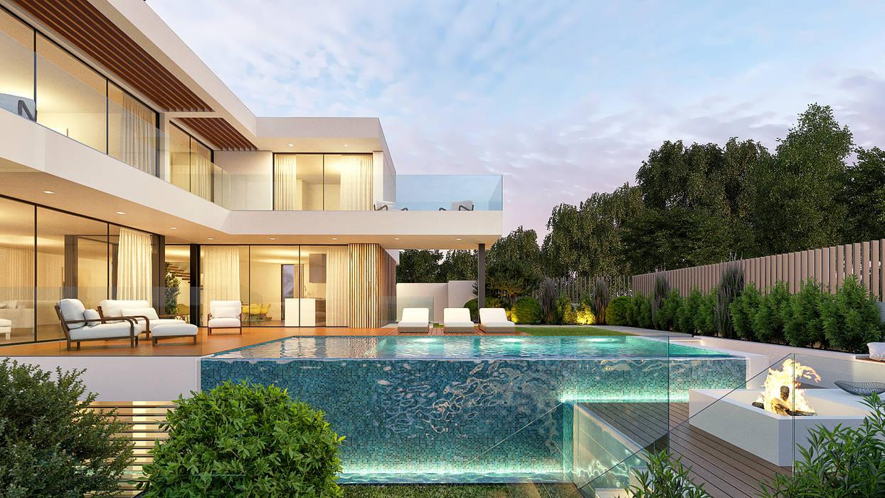 CASA C&J - Moradia em Cascais - Projeto de Arquitetura - exterior piscina: Piscinas infinitas  por Traçado Regulador. Lda,Moderno Madeira Acabamento em madeira