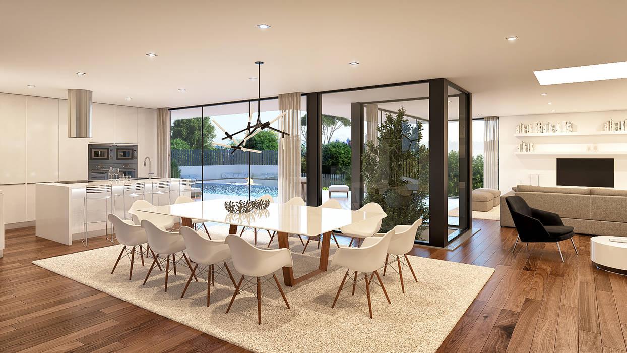 CASA C&J - Moradia em Cascais - Projeto de Arquitetura - sala jantar Salas de jantar modernas por Traçado Regulador. Lda Moderno Madeira Acabamento em madeira