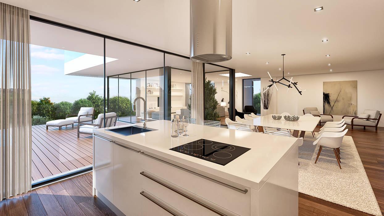 CASA C&J - Moradia em Cascais - Projeto de Arquitetura - cozinha sala Salas de jantar modernas por Traçado Regulador. Lda Moderno Madeira Acabamento em madeira