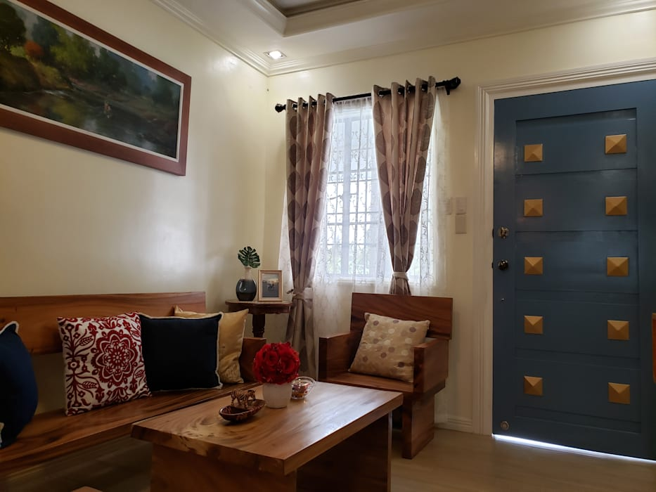 Cozy Cottage:  Living room by Geraldine Oliva,