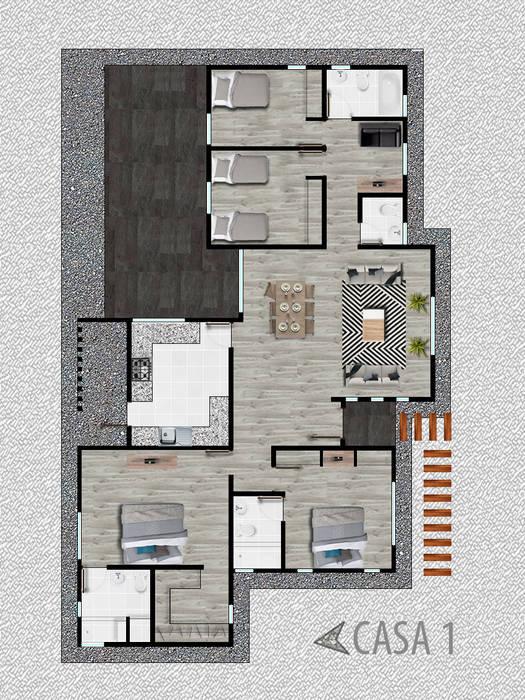 PROYECTO ARQUITECTURA CONDOMINIO SANTO DOMINGO de Estudio Arquitectura y construccion PR/ Arquitectura, Construccion y Diseño de interiores / Santiago, Rancagua y Viña del mar