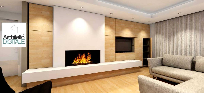 Soggiorno Moderno Con Camino progetto di una parete attrezzata con camino – variante