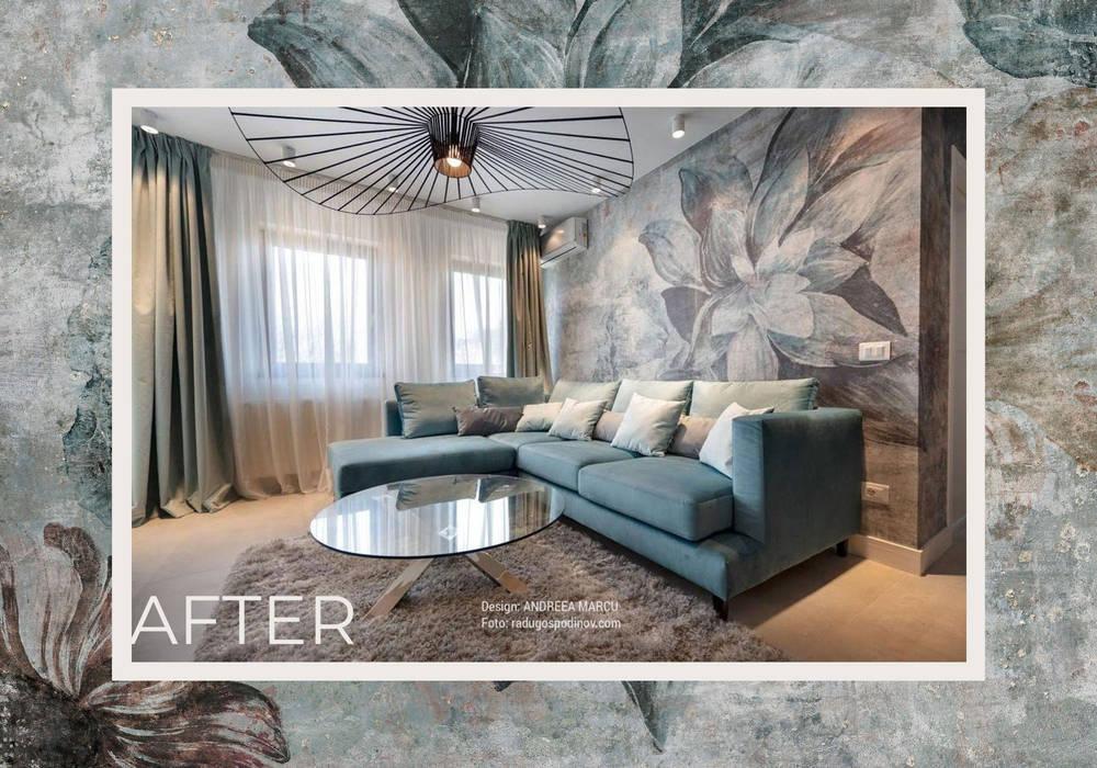 """""""Avalon"""" by Andreea Marcu Interiors & Glamour Design: Pareti in stile  di Tecnografica, Moderno"""