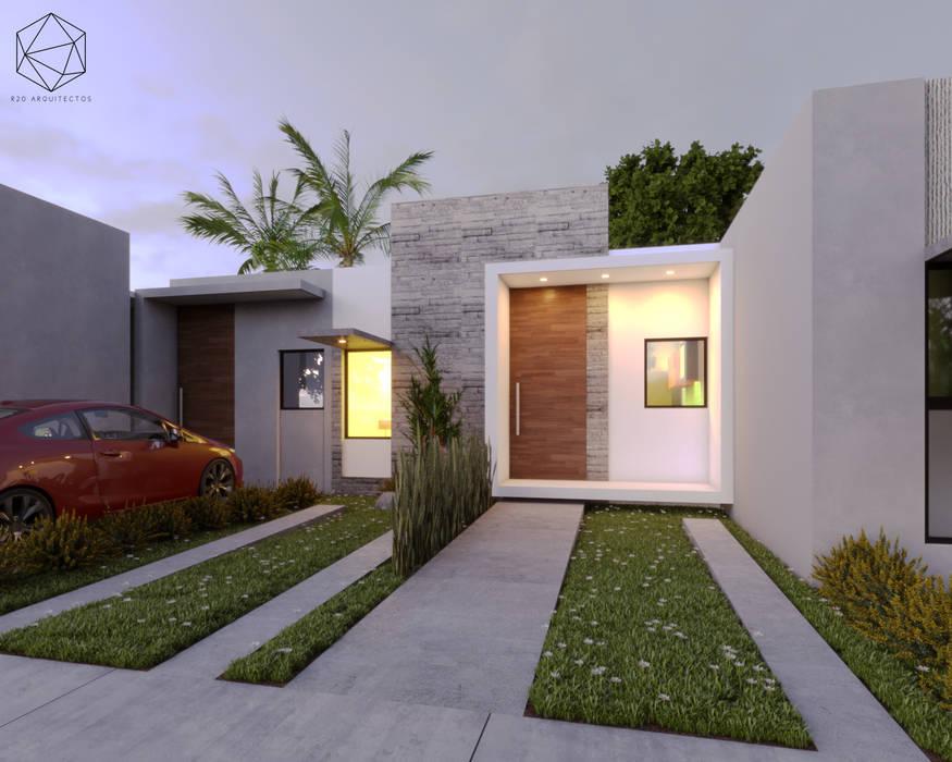 Visualización de fachada principal:  de estilo  por R20 Arquitectos,