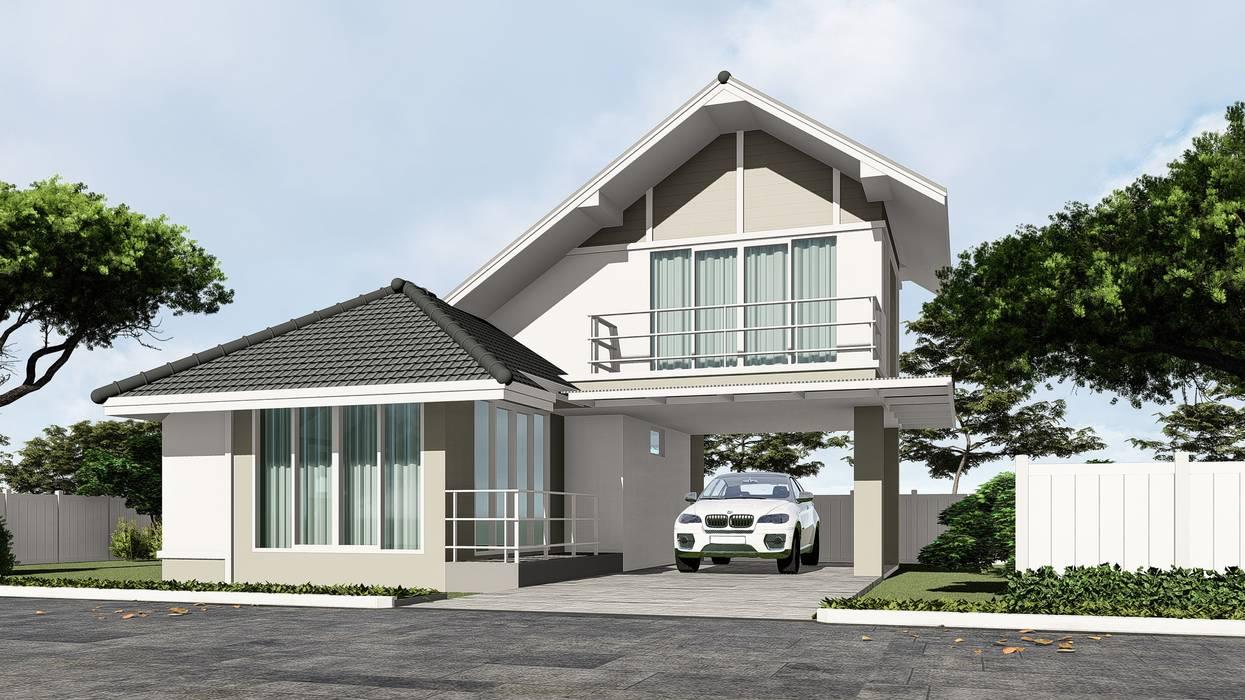 บ้านตัวอย่างของบ้านระเบียงขาว ในโครงการที่หัวหิน โดย บริษัท บ้านระเบียงขาว จำกัด คันทรี่ คอนกรีต