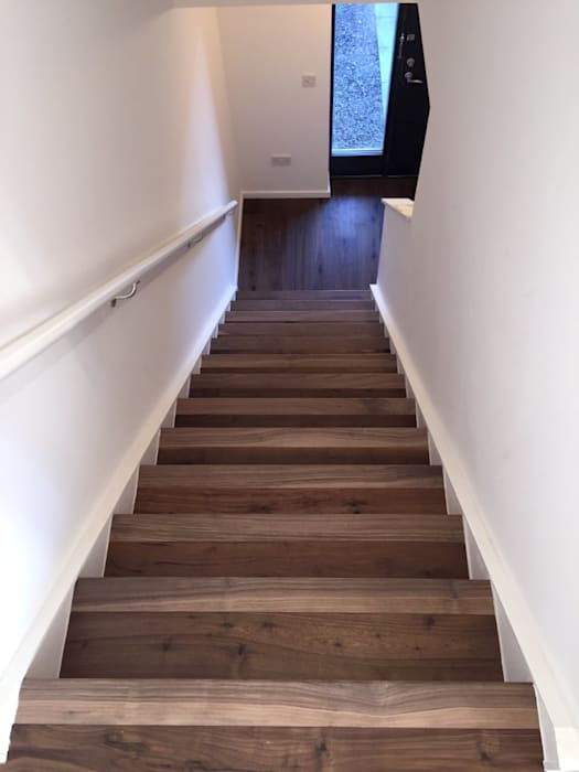 European walnut stair treads and risers Unique Bespoke Wood Tangga Kayu Brown
