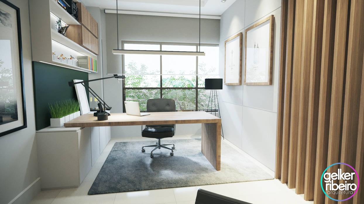 Study/office by Gelker Ribeiro Arquitetura | Arquiteto Rio de Janeiro, Modern Wood Wood effect