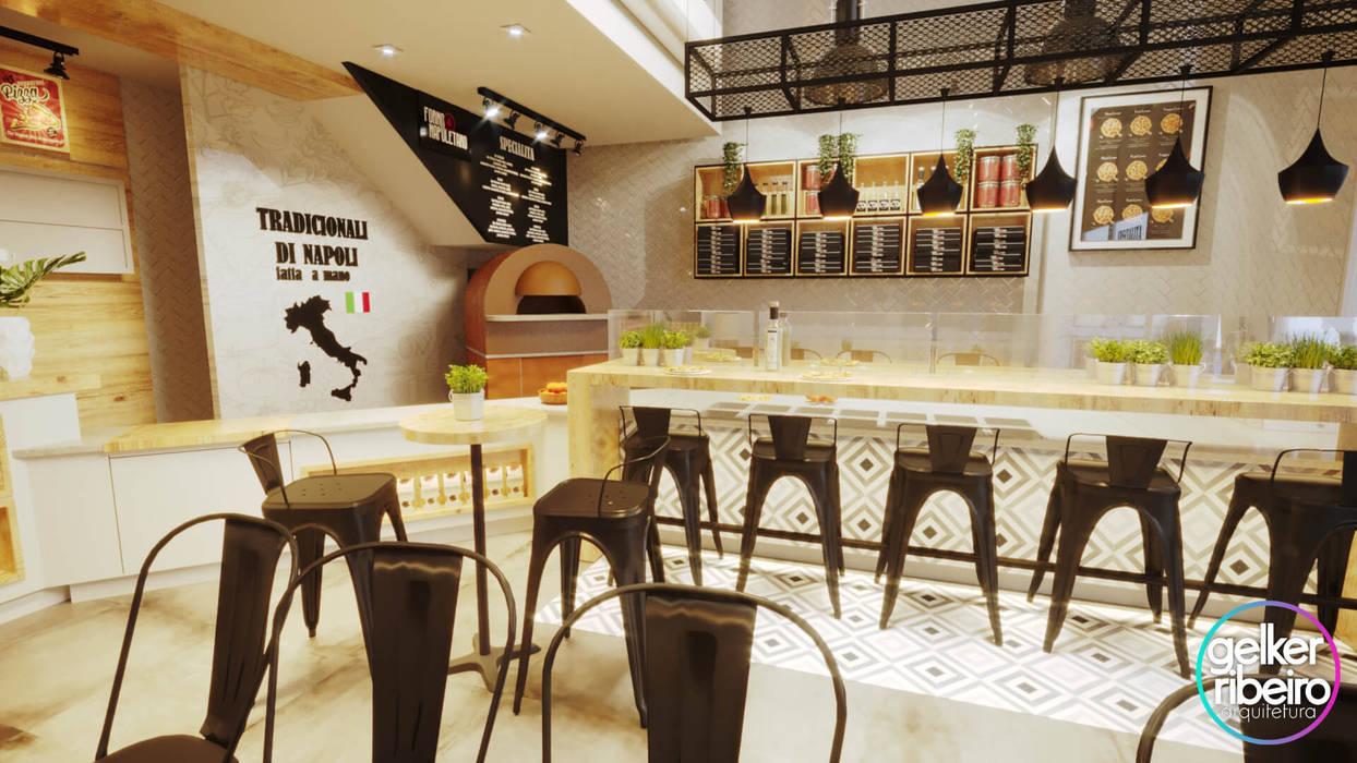 PROJETO PIZZARIA - FORNO NAPOLETANO Escritórios modernos por Gelker Ribeiro Arquitetura | Arquiteto Rio de Janeiro Moderno Derivados de madeira Transparente