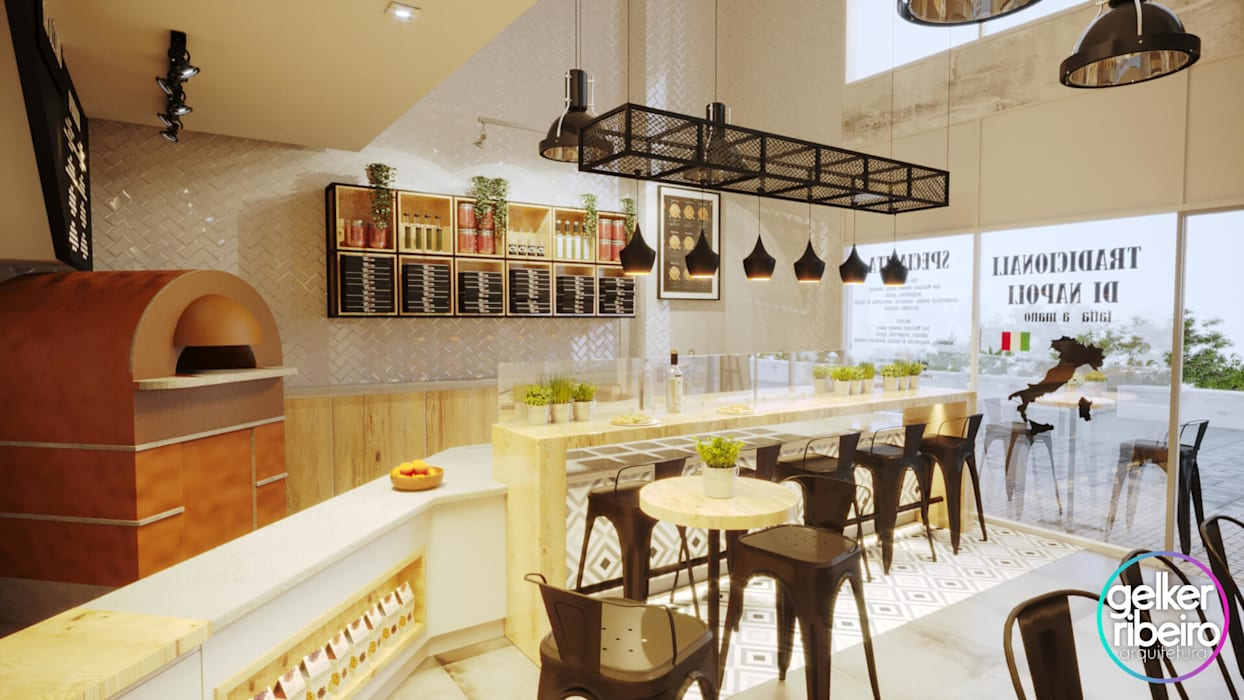 PROJETO PIZZARIA - FORNO NAPOLETANO: Cozinhas pequenas  por Gelker Ribeiro Arquitetura | Arquiteto Rio de Janeiro,Industrial Madeira maciça Multi colorido