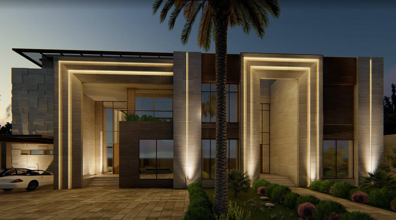 Front Facade:  Villas by A+ Design, Modern Stone
