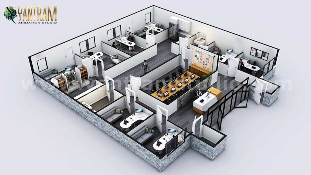 Interactive 3D Commercial Office Virtual Floor Plan Design with Classic interior by Architectural Studio:  Multi-Family house by Yantram Architectural Design Studio, Classic