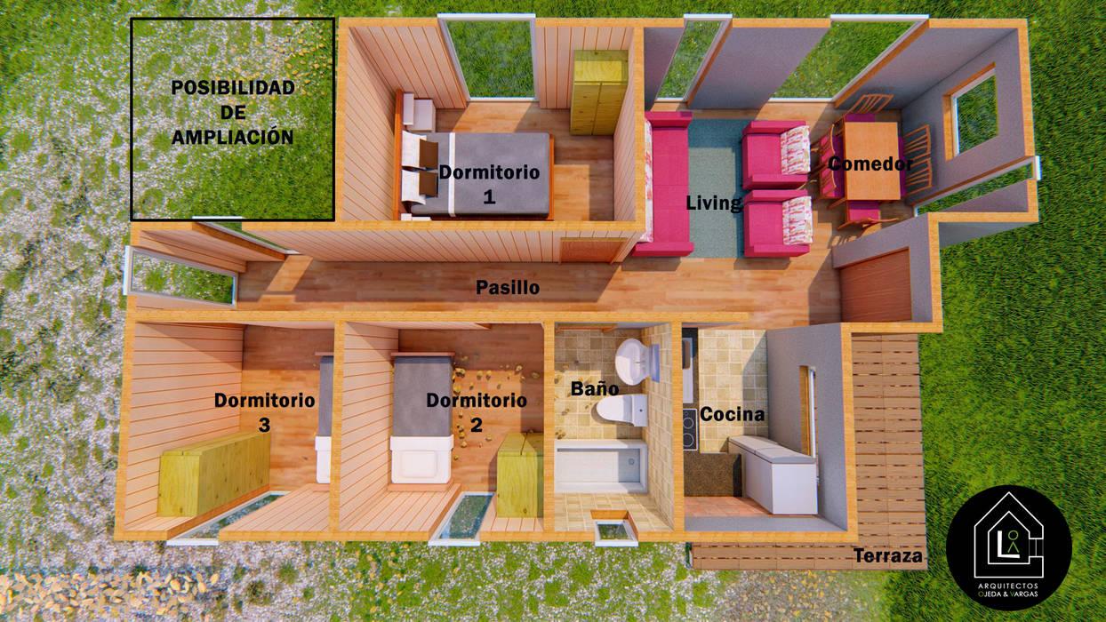 Interior Casa 57m2 Prefabricada de Primer Clove Arquitectos Rural