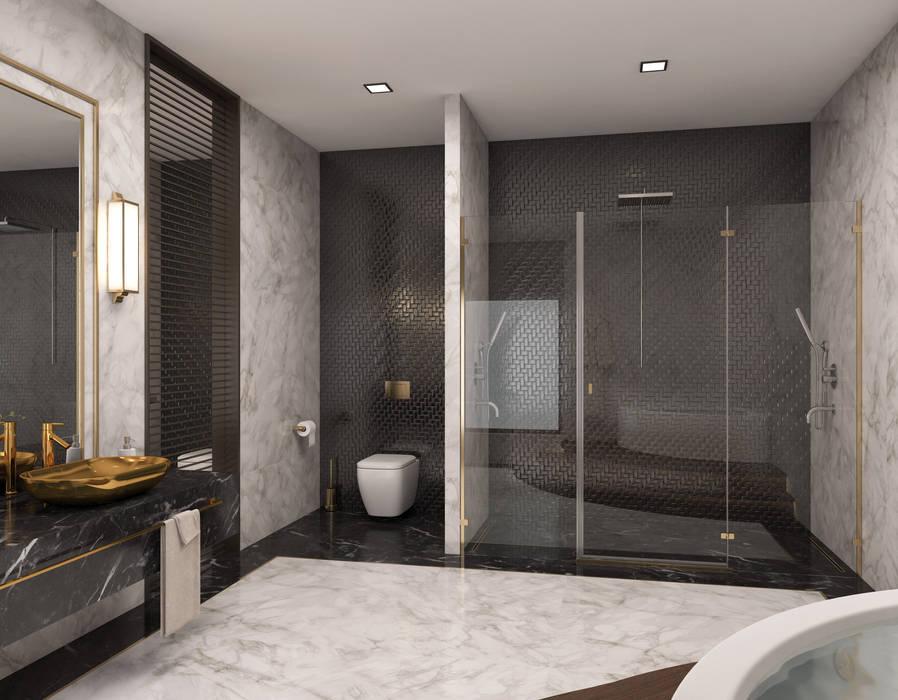 Minimalismo Design – Libya Konut İç Tasarımı:  tarz Banyo, Modern Mermer